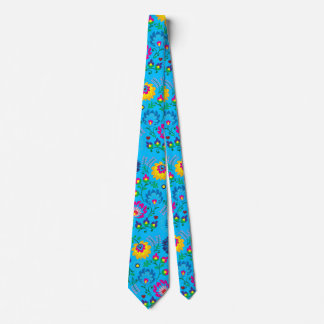Colorful flowers, sky blue style tie