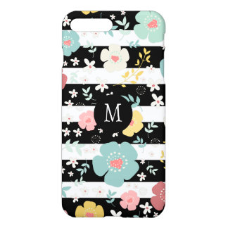 Colorful Flowers & Stripes Pattern Black & White iPhone 8 Plus/7 Plus Case