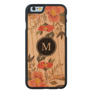 Colorful Flowers Watercolors Illustration Carved Cherry iPhone 6 Case