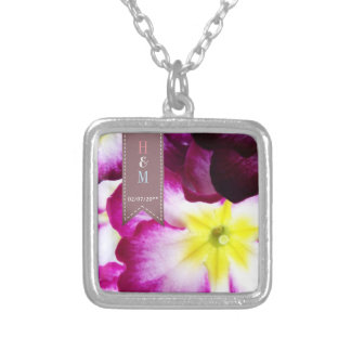 Colorful Flowers Wedding Silver Plated Necklace