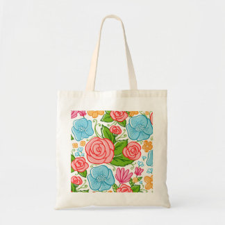 Colorful Flowers White Background Tote Bag