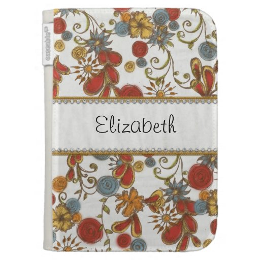 Colorful Flowers with Gold and Diamond Trim Kindle 3G Cases