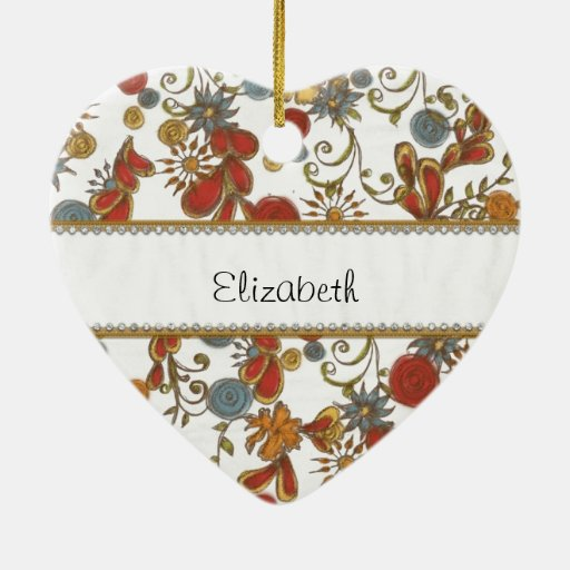 Colorful Flowers with Gold and Diamond Trim Christmas Ornament