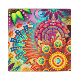Colorful Flowers Wood Coaster