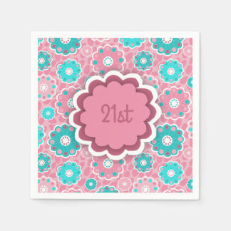 Colorful flowery aqua and pink paper napkin