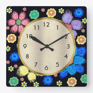 Colorful Fluffy  Flowers on Black Gold Wall Clock