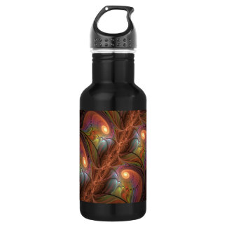 Colorful Fluorescent Abstract Modern Brown Fractal 532 Ml Water Bottle