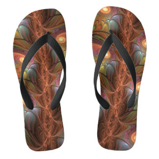 Colorful Fluorescent Abstract Modern Brown Fractal Thongs