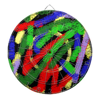 Colorful fluorescent squiggly lines dartboard