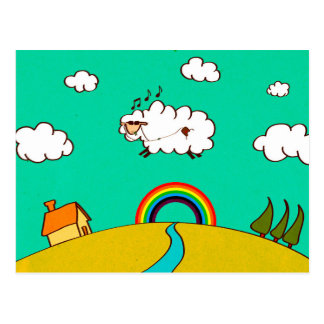 Colorful Flying Sheep Print Matte Finish Postcard