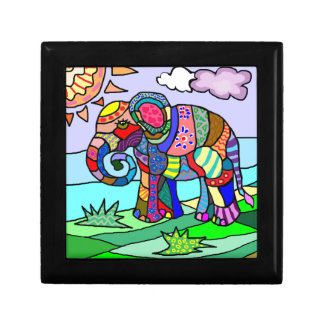 Colorful folcloristic abstract elephant painting small square gift box