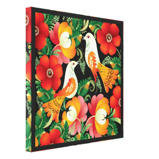 Colorful Folk Art Canvas Print
