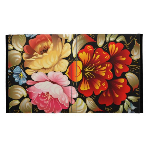Colorful Folk Art Floral iPad Folio Cases