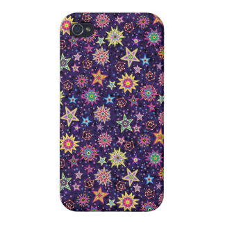 Colorful Folk Art Starry Sky Case For The iPhone 4