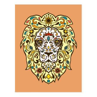 Colorful Folk Art Sugar Skull Magical Lion Postcard