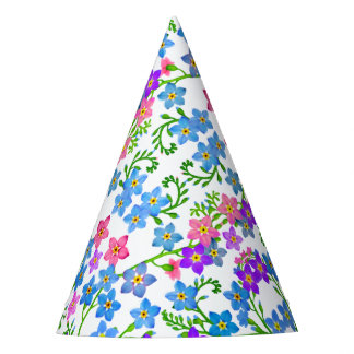 Colorful Forget Me Nots Floral Party Hat