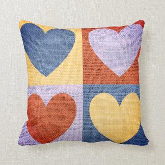 Colorful Four Hearts Fabric Design Cushion