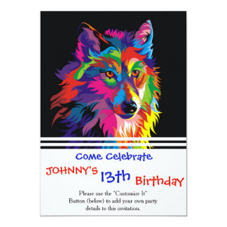 Colorful fox 13 cm x 18 cm invitation card