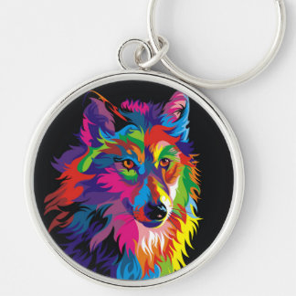 Colorful fox Silver-Colored round key ring