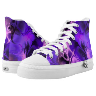 Colorful Fractal Art in Blues, Purples and Pinks High Tops