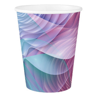 Colorful fractal flowers paper cup