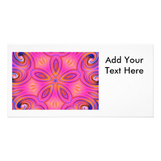 Colorful Fractal Kaleidoscope Flower Design Photo Cards