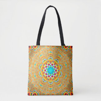 Colorful Fractal Mandala Tote Bag