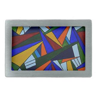 Colorful Fragments Rectangular Belt Buckle