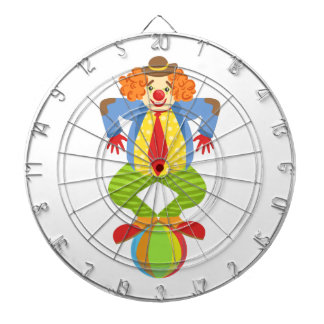 Colorful Friendly Clown Balancing On Ball In Class Dartboard