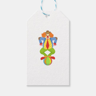 Colorful Friendly Clown Balancing On Ball In Class Gift Tags