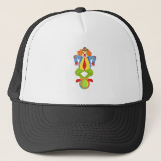 Colorful Friendly Clown Balancing On Ball In Class Trucker Hat