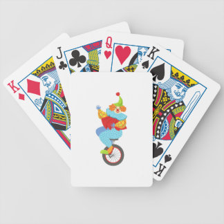 Colorful Friendly Clown Balancing On Unicycle Bicycle Playing Cards