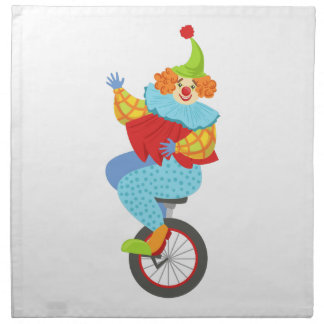 Colorful Friendly Clown Balancing On Unicycle Napkin