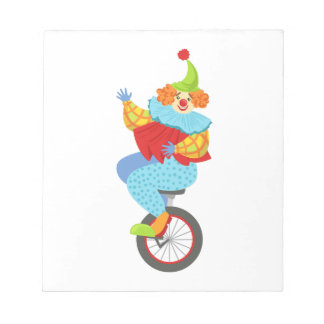 Colorful Friendly Clown Balancing On Unicycle Notepad
