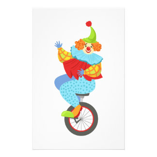 Colorful Friendly Clown Balancing On Unicycle Stationery