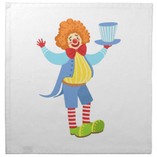 Colorful Friendly Clown Holding Top Hat In Classic Napkin