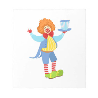 Colorful Friendly Clown Holding Top Hat In Classic Notepad