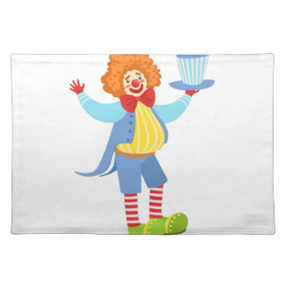 Colorful Friendly Clown Holding Top Hat In Classic Placemat
