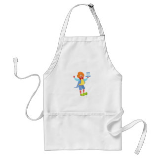 Colorful Friendly Clown Holding Top Hat In Classic Standard Apron