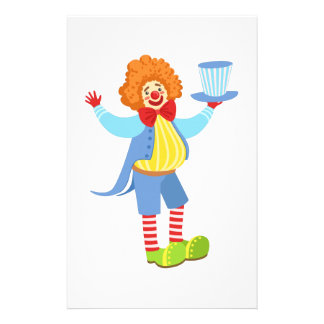Colorful Friendly Clown Holding Top Hat In Classic Stationery