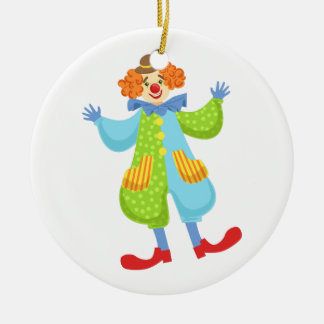 Colorful Friendly Clown In Bowler Hat In Classic O Ceramic Ornament