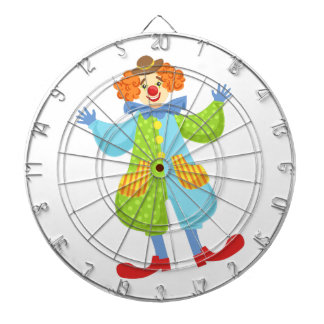 Colorful Friendly Clown In Bowler Hat In Classic O Dartboard
