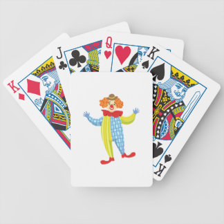 Colorful Friendly Clown In Derby Hat And Classic Bicycle Playing Cards
