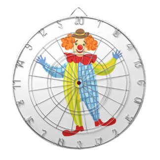 Colorful Friendly Clown In Derby Hat And Classic Dartboard
