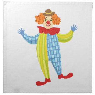 Colorful Friendly Clown In Derby Hat And Classic Napkin
