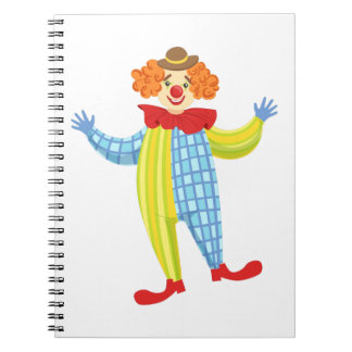 Colorful Friendly Clown In Derby Hat And Classic Notebooks