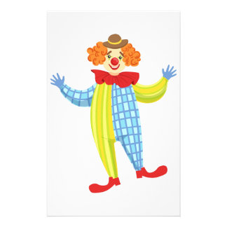 Colorful Friendly Clown In Derby Hat And Classic Stationery