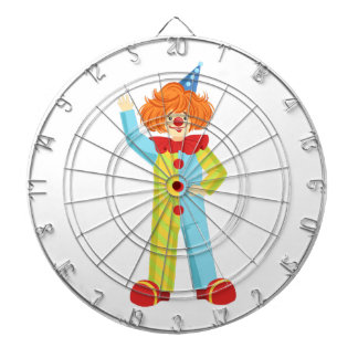 Colorful Friendly Clown In Party Hat Classic Outfi Dartboard