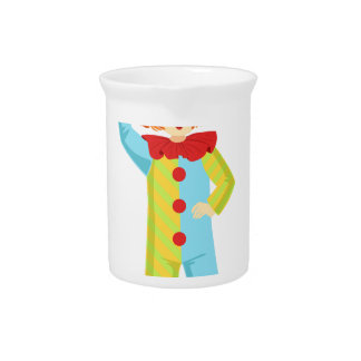 Colorful Friendly Clown In Party Hat Classic Outfi Pitcher