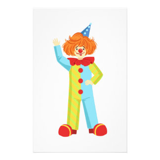 Colorful Friendly Clown In Party Hat Classic Outfi Stationery